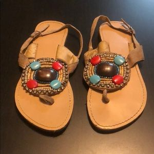 Tan Beaded Sandals with Back Strap, Size 6
